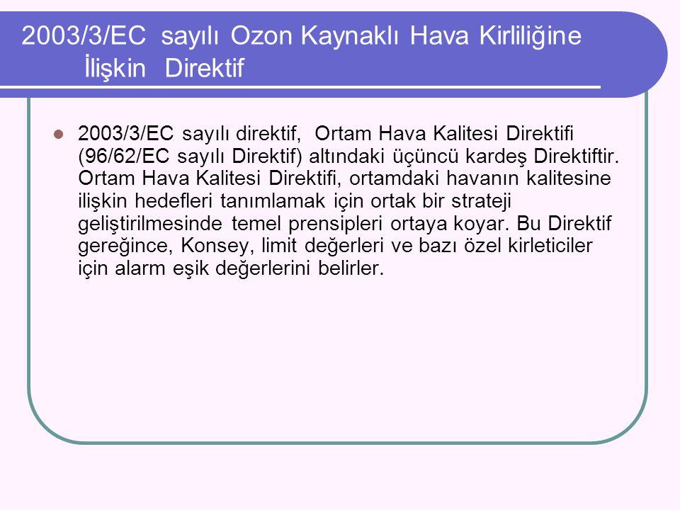 2003/3/EC sayılı Ozon Kaynaklı Hava Kirliliğine İlişkin Direktif 2003/3/EC sayılı direktif, Ortam Hava Kalitesi Direktifi (96/62/EC sayılı Direktif) a