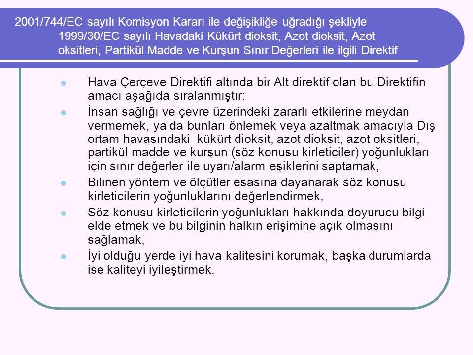2001/744/EC sayılı Komisyon Kararı ile değişikliğe uğradığı şekliyle 1999/30/EC sayılı Havadaki Kükürt dioksit, Azot dioksit, Azot oksitleri, Partikül