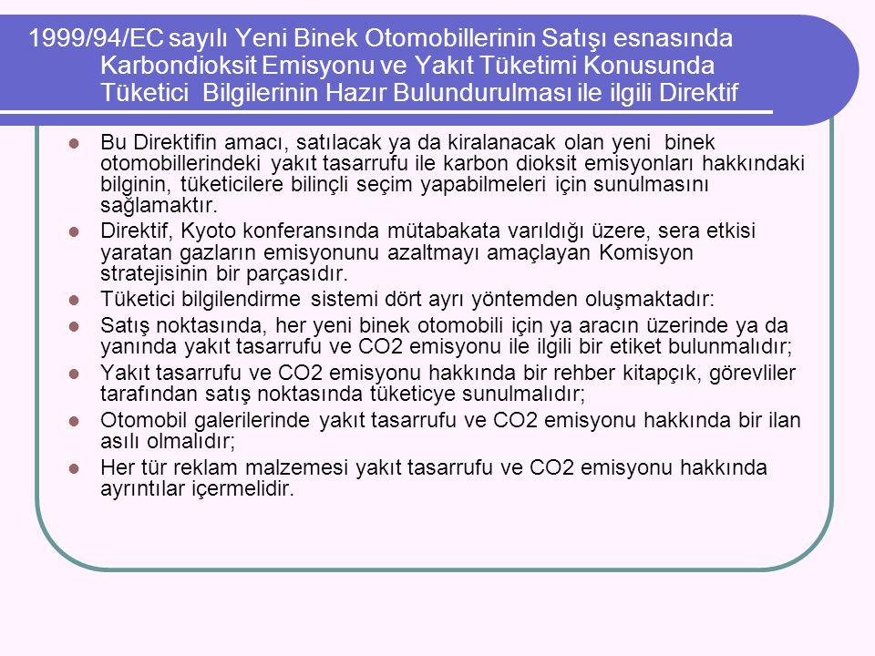 1999/94/EC sayılı Yeni Binek Otomobillerinin Satışı esnasında Karbondioksit Emisyonu ve Yakıt Tüketimi Konusunda Tüketici Bilgilerinin Hazır Bulunduru