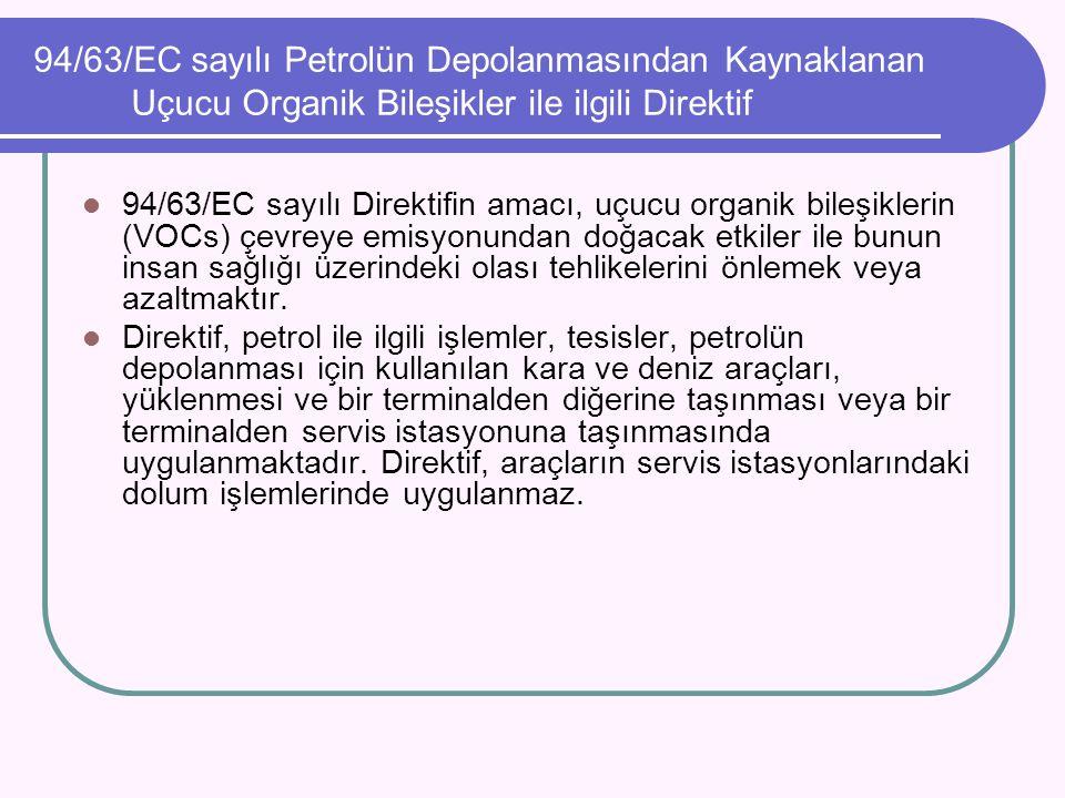 94/63/EC sayılı Petrolün Depolanmasından Kaynaklanan Uçucu Organik Bileşikler ile ilgili Direktif 94/63/EC sayılı Direktifin amacı, uçucu organik bile