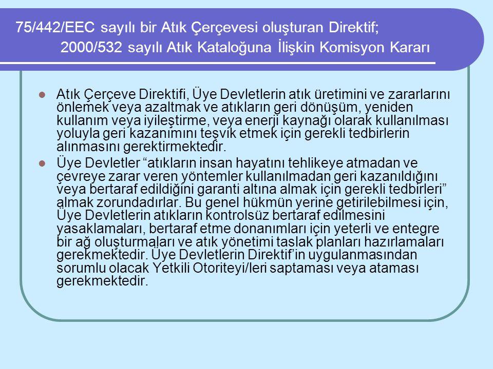 75/442/EEC sayılı bir Atık Çerçevesi oluşturan Direktif; 2000/532 sayılı Atık Kataloğuna İlişkin Komisyon Kararı Atık Çerçeve Direktifi, Üye Devletler