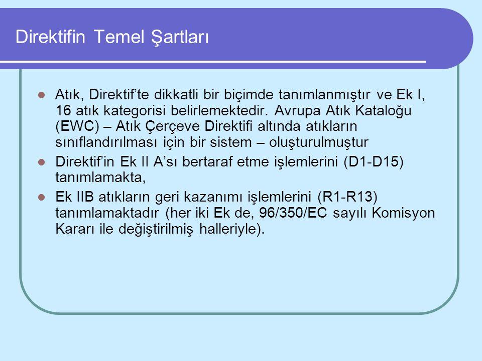 Direktifin Temel Şartları Atık, Direktif'te dikkatli bir biçimde tanımlanmıştır ve Ek I, 16 atık kategorisi belirlemektedir. Avrupa Atık Kataloğu (EWC
