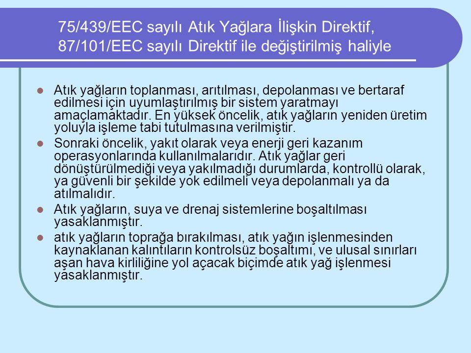 75/439/EEC sayılı Atık Yağlara İlişkin Direktif, 87/101/EEC sayılı Direktif ile değiştirilmiş haliyle Atık yağların toplanması, arıtılması, depolanmas
