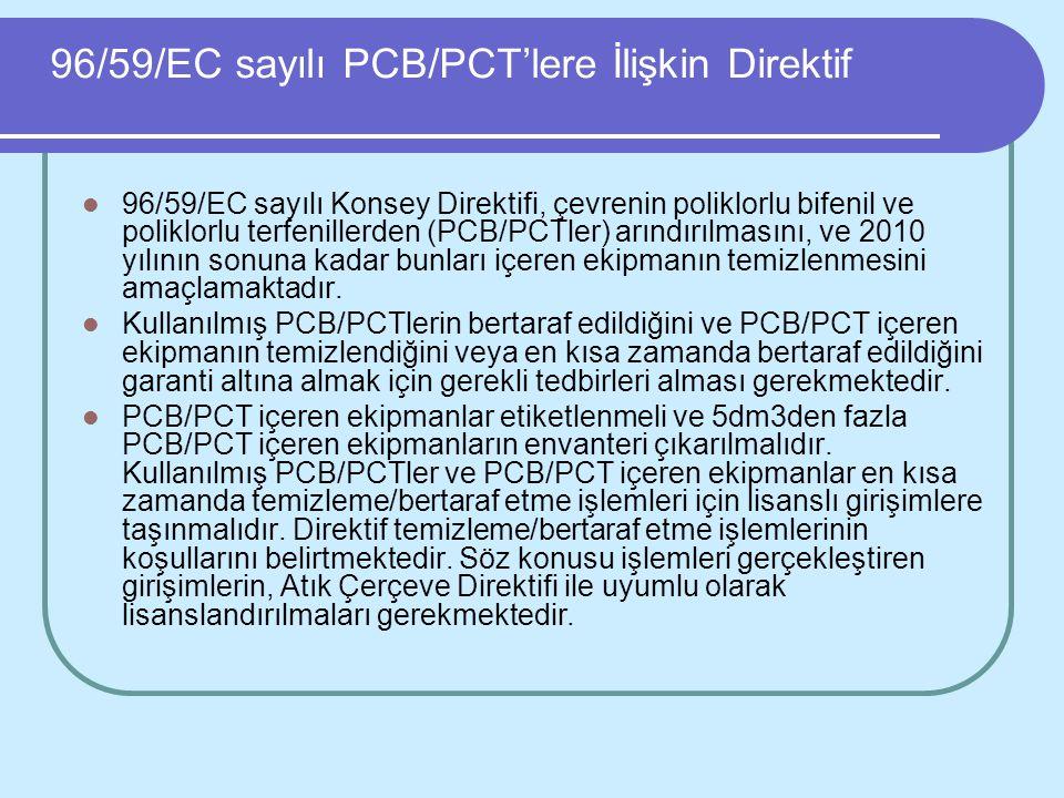 96/59/EC sayılı PCB/PCT'lere İlişkin Direktif 96/59/EC sayılı Konsey Direktifi, çevrenin poliklorlu bifenil ve poliklorlu terfenillerden (PCB/PCTler)