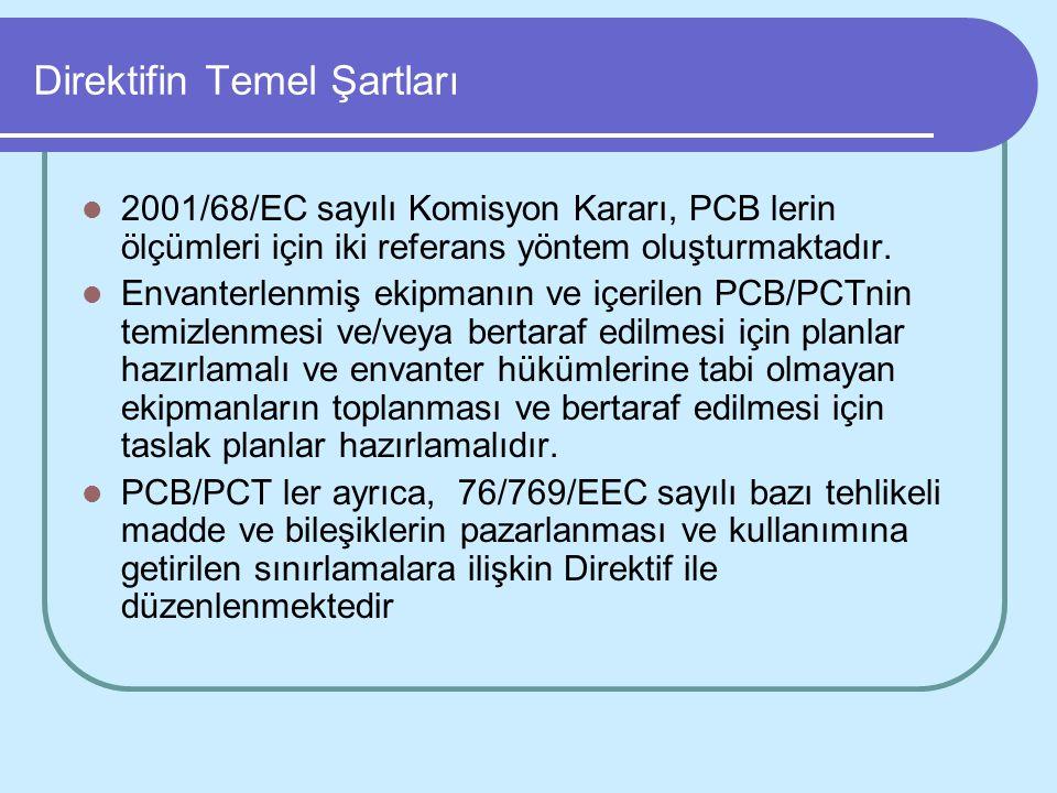 Direktifin Temel Şartları 2001/68/EC sayılı Komisyon Kararı, PCB lerin ölçümleri için iki referans yöntem oluşturmaktadır. Envanterlenmiş ekipmanın ve