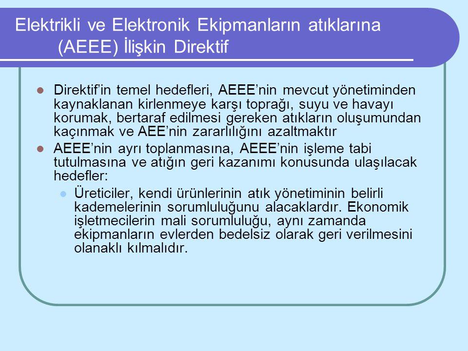 Elektrikli ve Elektronik Ekipmanların atıklarına (AEEE) İlişkin Direktif Direktif'in temel hedefleri, AEEE'nin mevcut yönetiminden kaynaklanan kirlenm