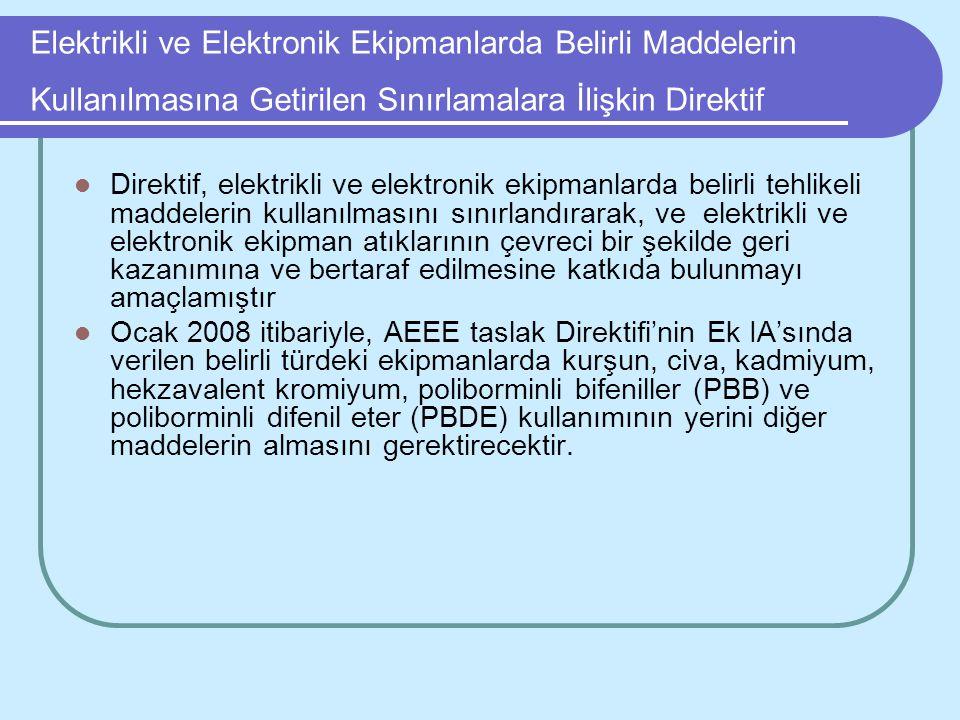 Elektrikli ve Elektronik Ekipmanlarda Belirli Maddelerin Kullanılmasına Getirilen Sınırlamalara İlişkin Direktif Direktif, elektrikli ve elektronik ek