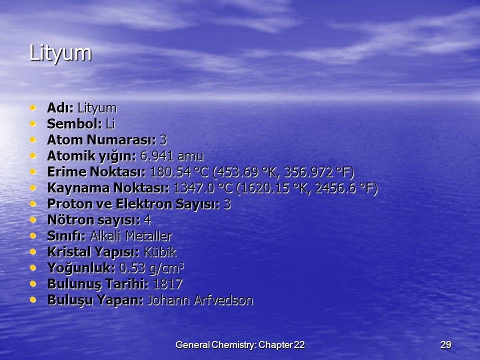 General Chemistry: Chapter 2229 Lityum Adı: Lityum Adı: Lityum Sembol: Li Sembol: Li Atom Numarası: 3 Atom Numarası: 3 Atomik yığın: 6.941 amu Atomik