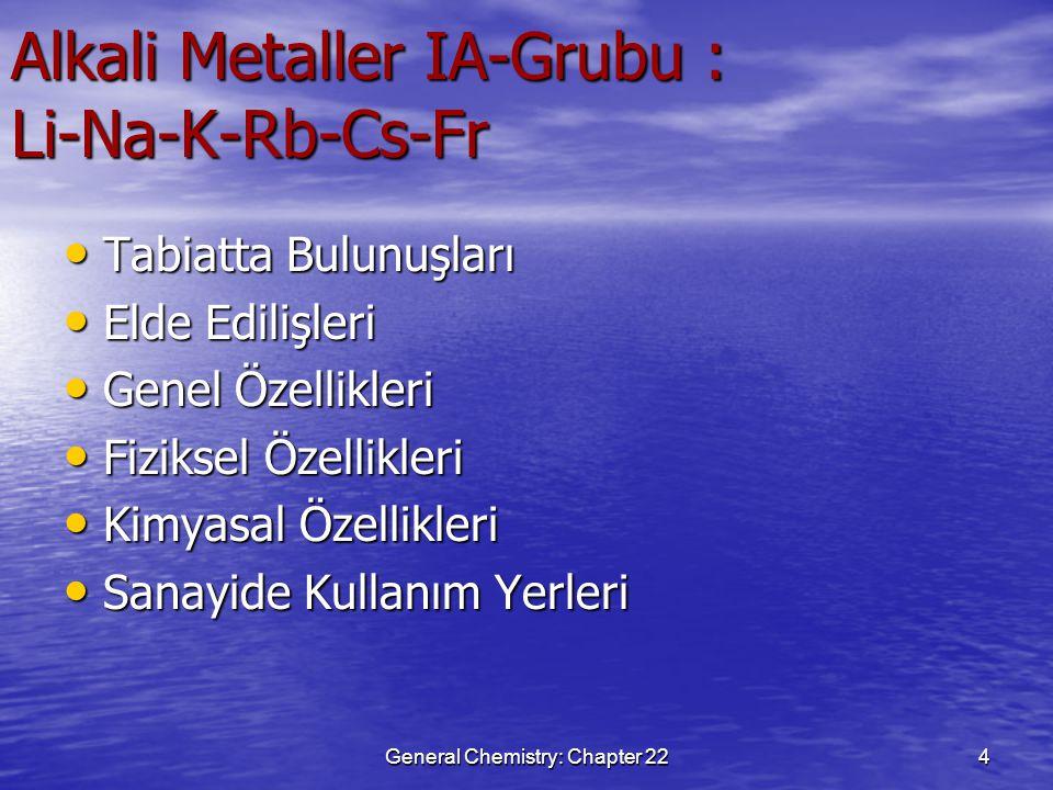 General Chemistry: Chapter 224 Alkali Metaller IA-Grubu : Li-Na-K-Rb-Cs-Fr Tabiatta Bulunuşları Tabiatta Bulunuşları Elde Edilişleri Elde Edilişleri G