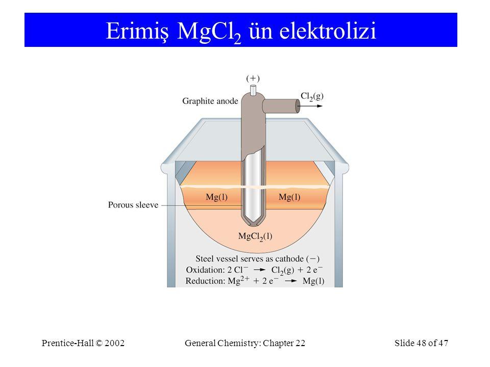Prentice-Hall © 2002General Chemistry: Chapter 22Slide 48 of 47 Erimiş MgCl 2 ün elektrolizi