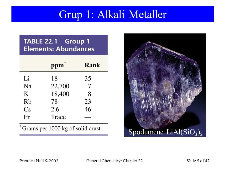 Prentice-Hall © 2002General Chemistry: Chapter 22Slide 5 of 47 Grup 1: Alkali Metaller Spodumene LiAl(SiO 3 ) 2