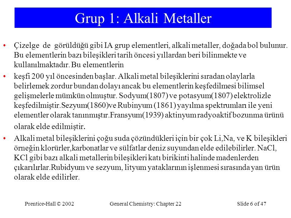 Prentice-Hall © 2002General Chemistry: Chapter 22Slide 6 of 47 Grup 1: Alkali Metaller Çizelge de görüldüğü gibi IA grup elementleri, alkali metaller, doğada bol bulunur.