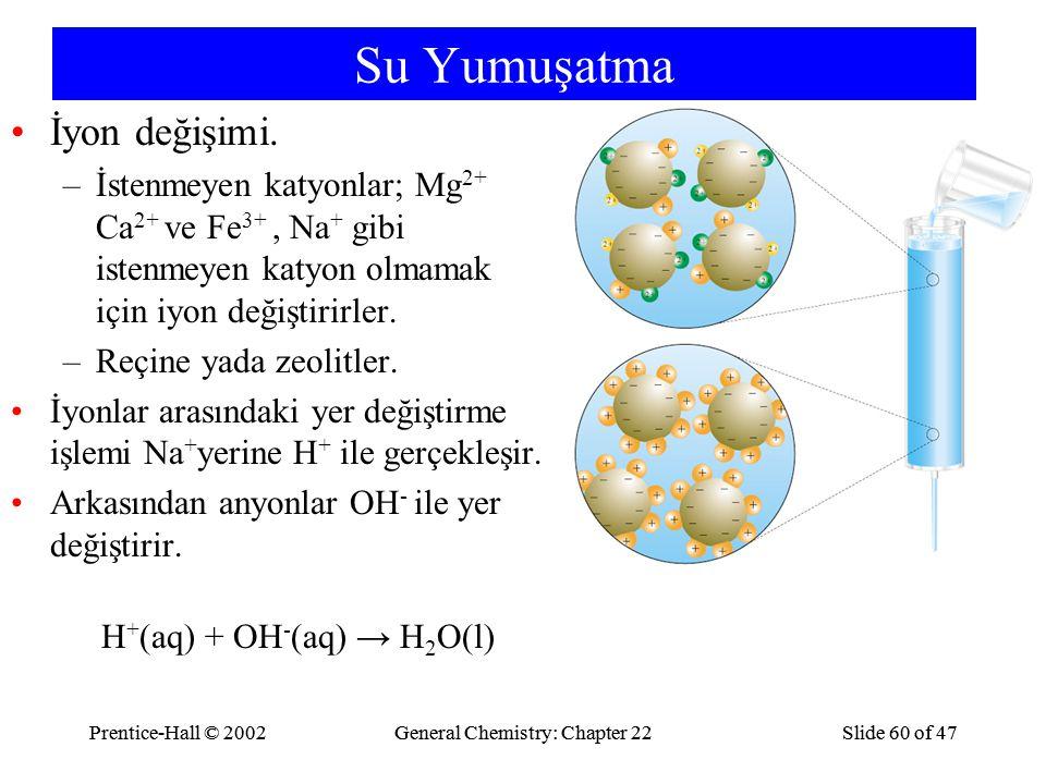 Prentice-Hall © 2002General Chemistry: Chapter 22Slide 60 of 47Prentice-Hall © 2002General Chemistry: Chapter 22Slide 60 of 47 Su Yumuşatma İyon değiş
