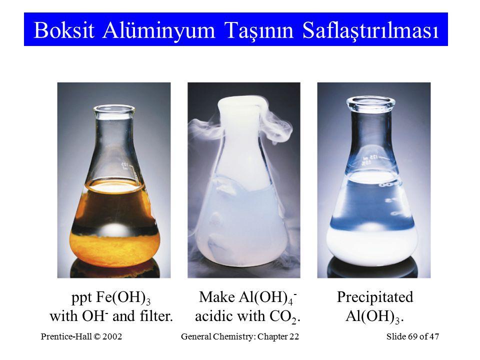 Prentice-Hall © 2002General Chemistry: Chapter 22Slide 69 of 47Prentice-Hall © 2002General Chemistry: Chapter 22Slide 69 of 47 Boksit Alüminyum Taşının Saflaştırılması ppt Fe(OH) 3 with OH - and filter.
