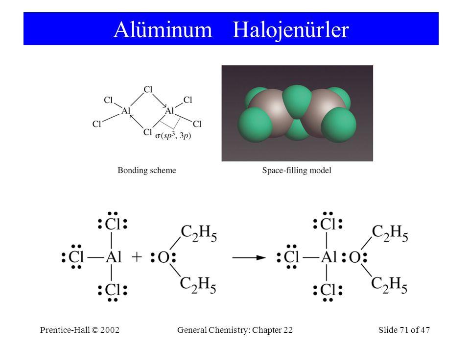 Prentice-Hall © 2002General Chemistry: Chapter 22Slide 71 of 47 Alüminum Halojenürler