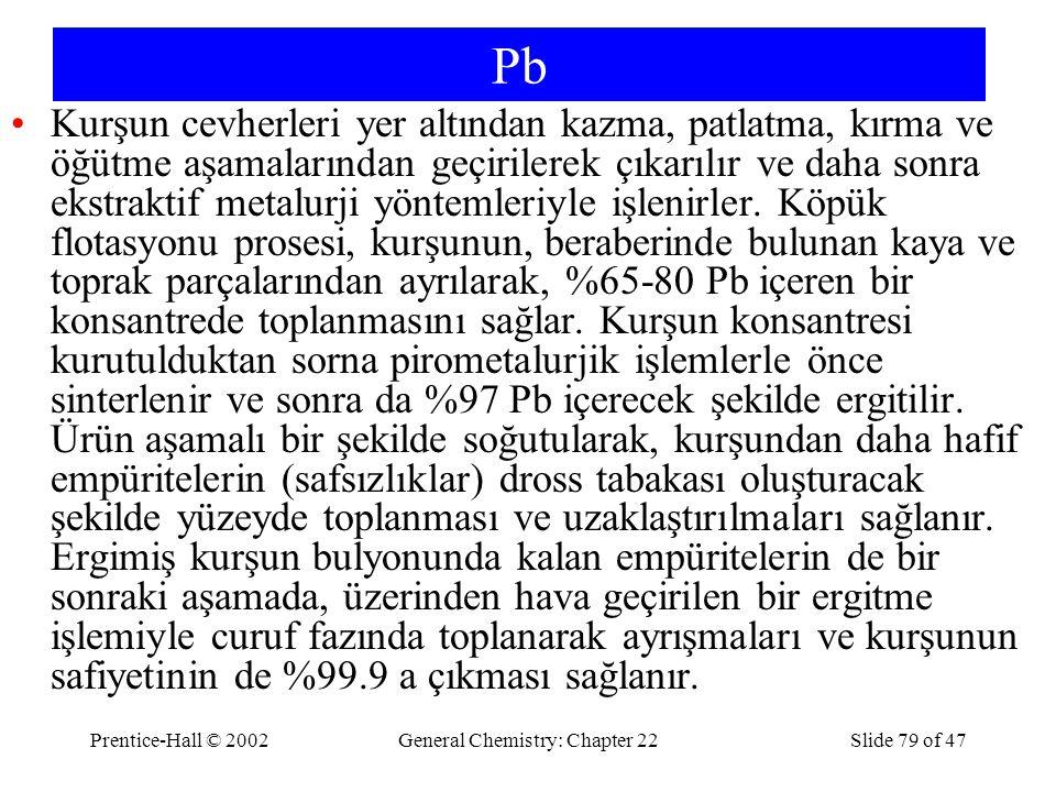 Prentice-Hall © 2002General Chemistry: Chapter 22Slide 79 of 47 Pb Kurşun cevherleri yer altından kazma, patlatma, kırma ve öğütme aşamalarından geçir