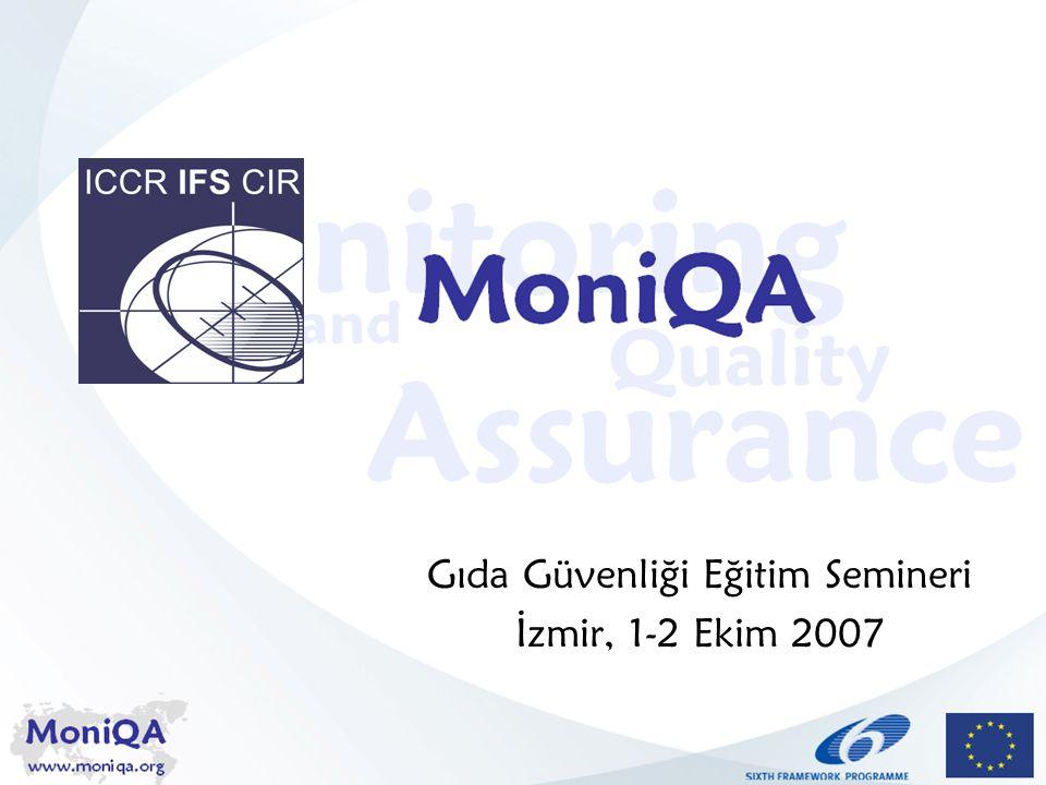 MoniQA www.moniqa.org Governance Structures Standardizasyon Kurumları Uluslar arası Standardizasyon Kurumu (ISO) –157 ülkeden standart enstitüleri –Kamu sektörü/özel sektör arasında –237 teknik komiteleri –TA34 gıda sektöründen sorumlu Bugüne kadar 717 standart Gıda güvenliği yönetim sistemi hakkındaki ISO 22000 (2005) HACCP ile uyumlu Avrupa Standardizasyon Komitesi (CEN) –Örnekleme / analizle ilgili teknik standartlar (400)