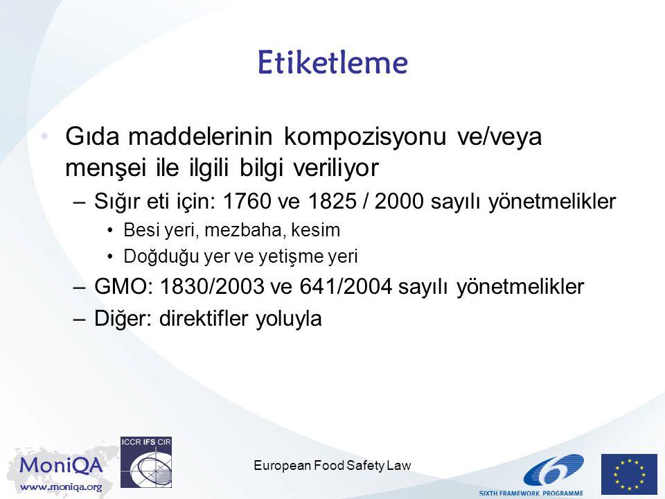 MoniQA www.moniqa.org European Food Safety Law Etiketleme Gıda maddelerinin kompozisyonu ve/veya menşei ile ilgili bilgi veriliyor –Sığır eti için: 17