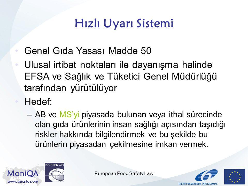 MoniQA www.moniqa.org European Food Safety Law Hızlı Uyarı Sistemi Genel Gıda Yasası Madde 50 Ulusal irtibat noktaları ile dayanışma halinde EFSA ve S