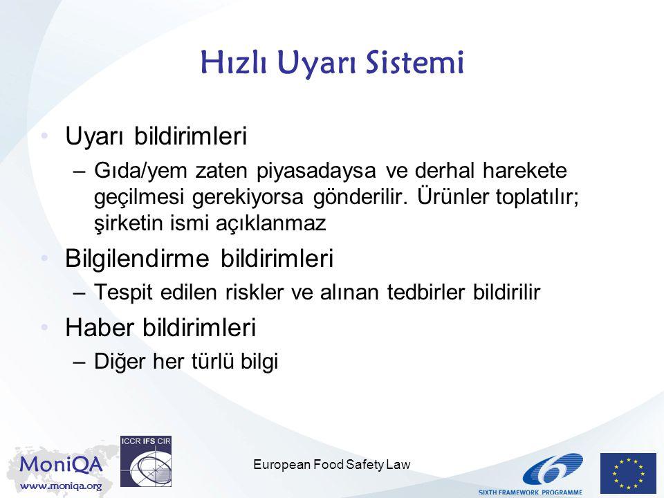 MoniQA www.moniqa.org European Food Safety Law Hızlı Uyarı Sistemi Uyarı bildirimleri –Gıda/yem zaten piyasadaysa ve derhal harekete geçilmesi gerekiy