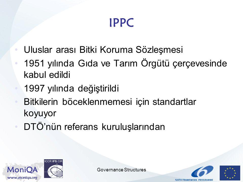 MoniQA www.moniqa.org Governance Structures IPPC Uluslar arası Bitki Koruma Sözleşmesi 1951 yılında Gıda ve Tarım Örgütü çerçevesinde kabul edildi 199