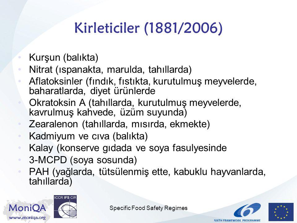 MoniQA www.moniqa.org Specific Food Safety Regimes Kirleticiler (1881/2006) Kurşun (balıkta) Nitrat (ıspanakta, marulda, tahıllarda) Aflatoksinler (fı