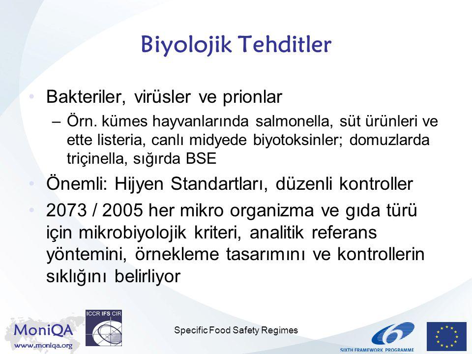 MoniQA www.moniqa.org Specific Food Safety Regimes Biyolojik Tehditler Bakteriler, virüsler ve prionlar –Örn. kümes hayvanlarında salmonella, süt ürün