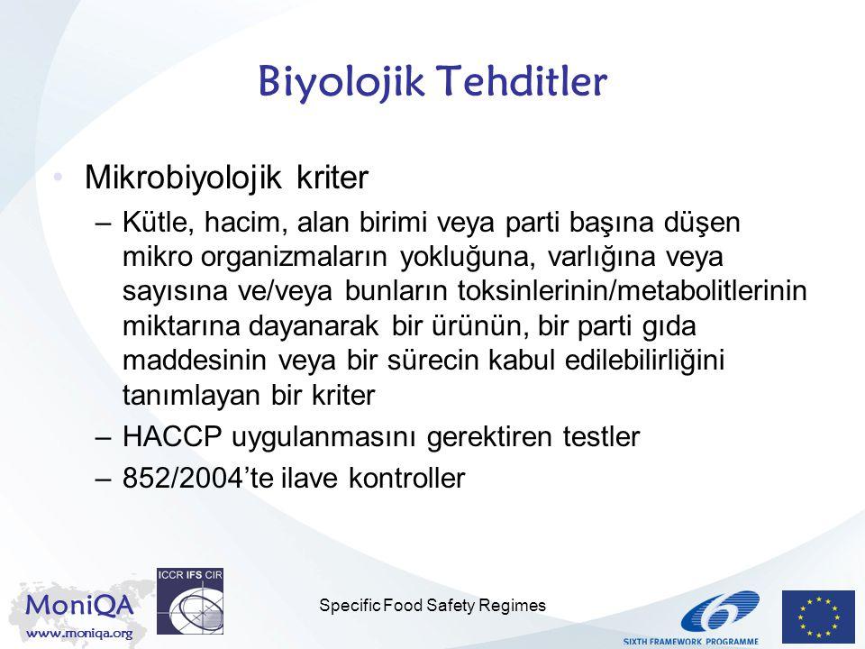 MoniQA www.moniqa.org Specific Food Safety Regimes Biyolojik Tehditler Mikrobiyolojik kriter –Kütle, hacim, alan birimi veya parti başına düşen mikro