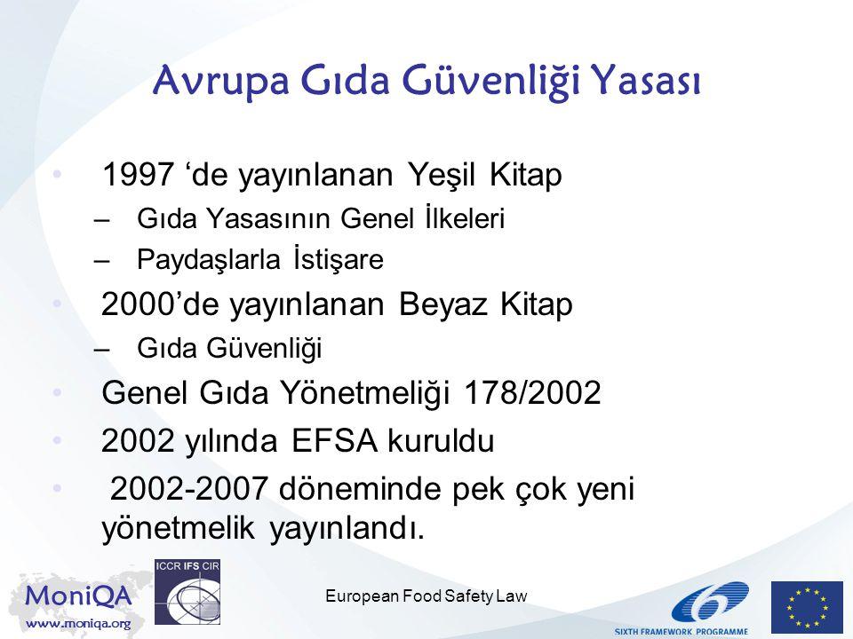 MoniQA www.moniqa.org European Food Safety Law Genel hükümler 'Çiftlikten masaya' yaklaşımı Yasamanın AB seviyesinde uyumlaştırılması Kontrol usullerinin sorumluluğu : MS Başlıca sorumluluk: gıda/yem operatörlerine, imalatçılara ve çiftçilere ait –Hijyen / kalite kontrol sistemleri –İzlenebilirlik prosedürleri Tedbir ilkesi