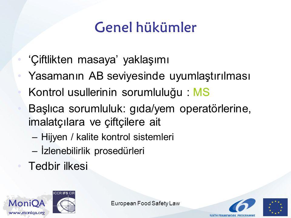 MoniQA www.moniqa.org European Food Safety Law Genel hükümler 'Çiftlikten masaya' yaklaşımı Yasamanın AB seviyesinde uyumlaştırılması Kontrol usulleri