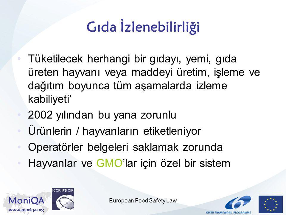 MoniQA www.moniqa.org European Food Safety Law Tedbir İlkesi Çevre Antlaşması ile tesis edildi Diğer alanlarla da ilgili olduğu anlaşıldı Dünya Ticaret Örgütü İstinaf Dairesi gıda sektöründe de geçerli olduğuna karar verdi Uygulama koşulları çok sıkı –Bilimsel belirsizlik tam risk değerlendirmesi yapılmasını engelliyor –Maliyetlerin ve faydaların değerlendirilmesi gerekiyor –Alınan tedbirler koruma seviyesi ile orantılı olmalı –Ayrımcılık yapılmamalı