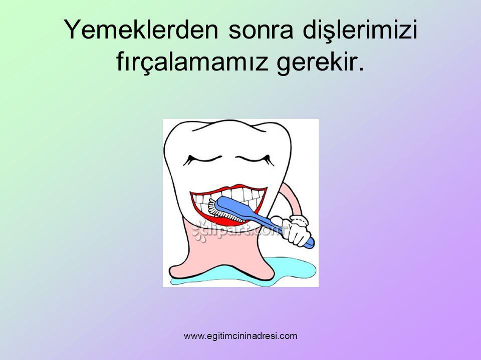 Yemeklerden sonra dişlerimizi fırçalamamız gerekir. www.egitimcininadresi.com