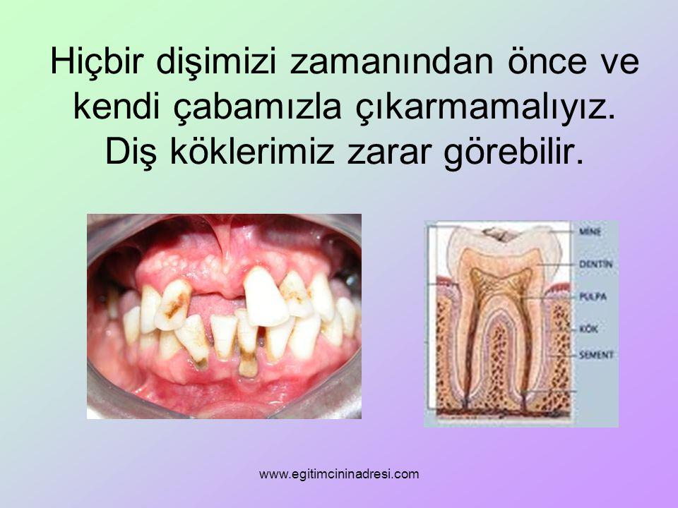 Hiçbir dişimizi zamanından önce ve kendi çabamızla çıkarmamalıyız. Diş köklerimiz zarar görebilir. www.egitimcininadresi.com