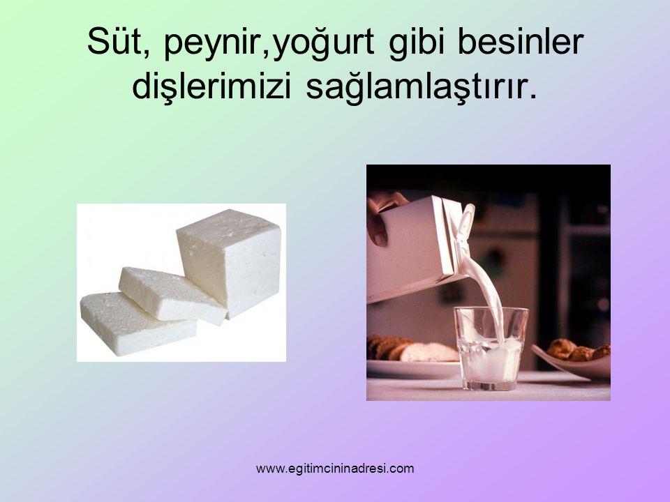 Süt, peynir,yoğurt gibi besinler dişlerimizi sağlamlaştırır. www.egitimcininadresi.com