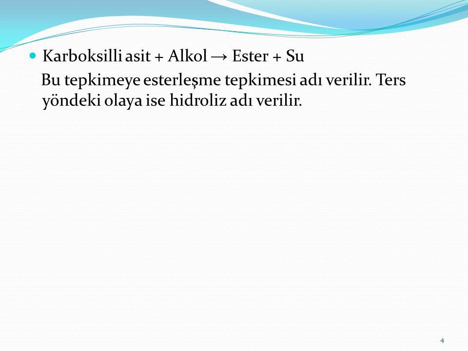 Karboksilli asit + Alkol → Ester + Su Bu tepkimeye esterleşme tepkimesi adı verilir. Ters yöndeki olaya ise hidroliz adı verilir. 4