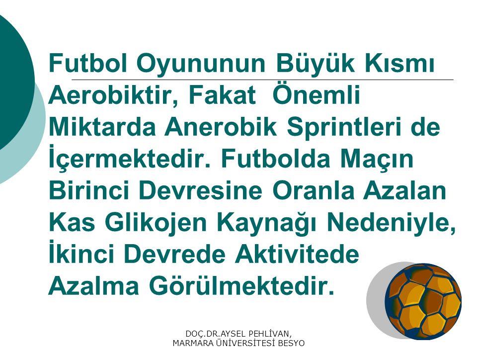 DOÇ.DR.AYSEL PEHLİVAN, MARMARA ÜNİVERSİTESİ BESYO Futbol Oyununun Büyük Kısmı Aerobiktir, Fakat Önemli Miktarda Anerobik Sprintleri de İçermektedir.