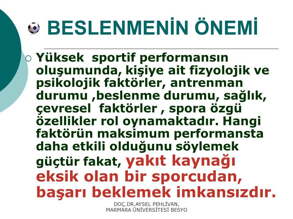 DOÇ.DR.AYSEL PEHLİVAN, MARMARA ÜNİVERSİTESİ BESYO BESLENMENİN ÖNEMİ  Yüksek sportif performansın oluşumunda, kişiye ait fizyolojik ve psikolojik faktörler, antrenman durumu,beslenme durumu, sağlık, çevresel faktörler, spora özgü özellikler rol oynamaktadır.
