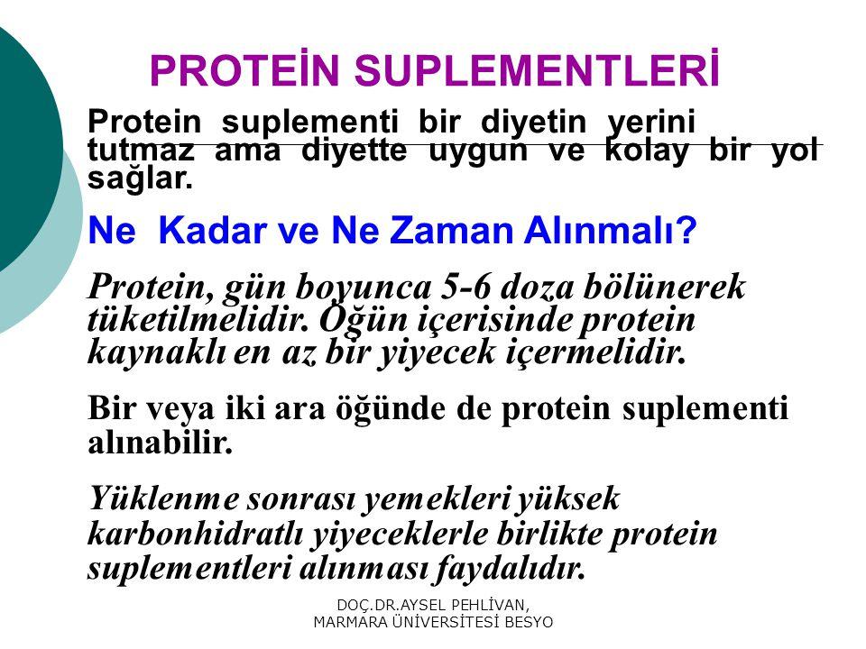 DOÇ.DR.AYSEL PEHLİVAN, MARMARA ÜNİVERSİTESİ BESYO PROTEİN SUPLEMENTLERİ Protein suplementi bir diyetin yerini tutmaz ama diyette uygun ve kolay bir yol sağlar.
