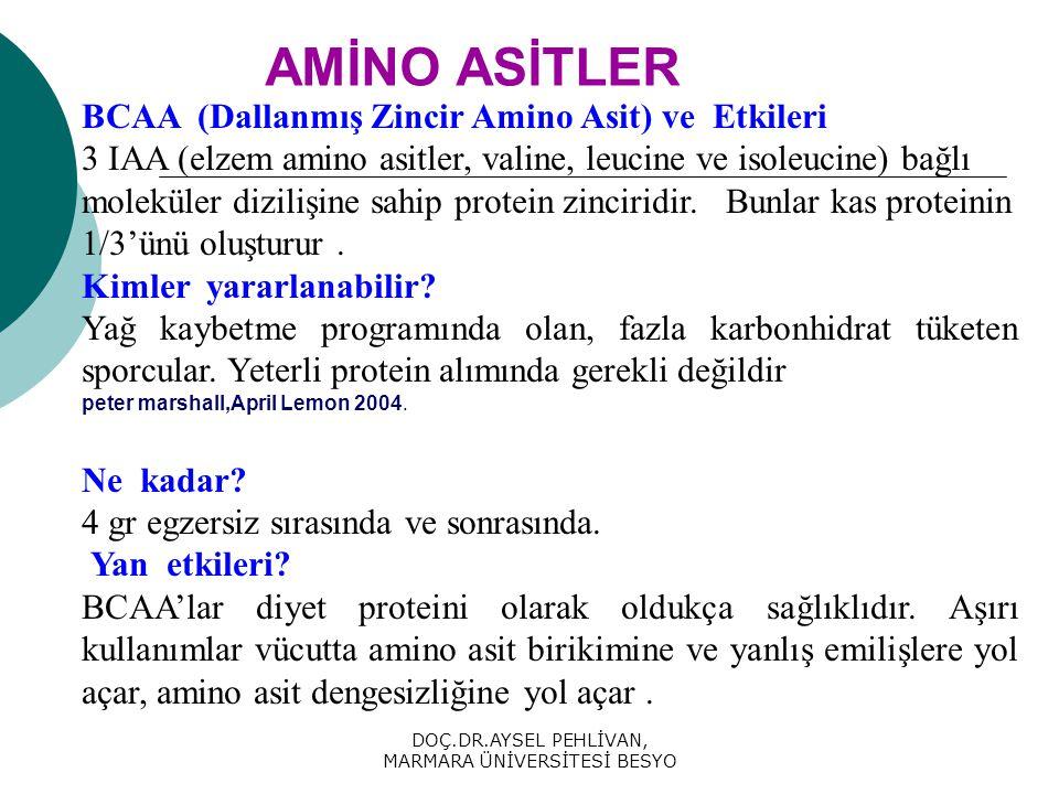 DOÇ.DR.AYSEL PEHLİVAN, MARMARA ÜNİVERSİTESİ BESYO AMİNO ASİTLER BCAA (Dallanmış Zincir Amino Asit) ve Etkileri 3 IAA (elzem amino asitler, valine, leucine ve isoleucine) bağlı moleküler dizilişine sahip protein zinciridir.