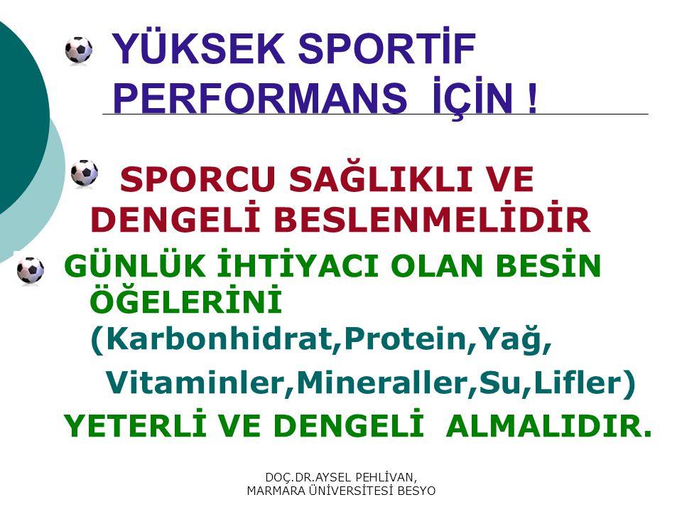 DOÇ.DR.AYSEL PEHLİVAN, MARMARA ÜNİVERSİTESİ BESYO BESİNSEL ÜRÜNLER  Yapılan çalışmaların büyük çoğunluğunda dengeli ve yeterli beslenmenin performans için yeterli olduğunu bir çok diyet ürününün performansı etkilemediği belirtilmektedir.