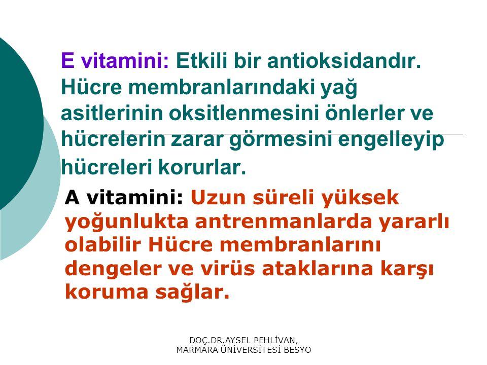 DOÇ.DR.AYSEL PEHLİVAN, MARMARA ÜNİVERSİTESİ BESYO E vitamini: Etkili bir antioksidandır.