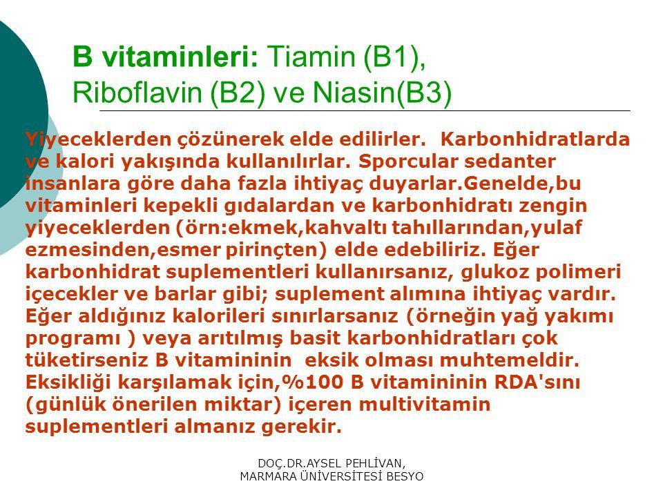 DOÇ.DR.AYSEL PEHLİVAN, MARMARA ÜNİVERSİTESİ BESYO B vitaminleri: Tiamin (B1), Riboflavin (B2) ve Niasin(B3) Yiyeceklerden çözünerek elde edilirler.