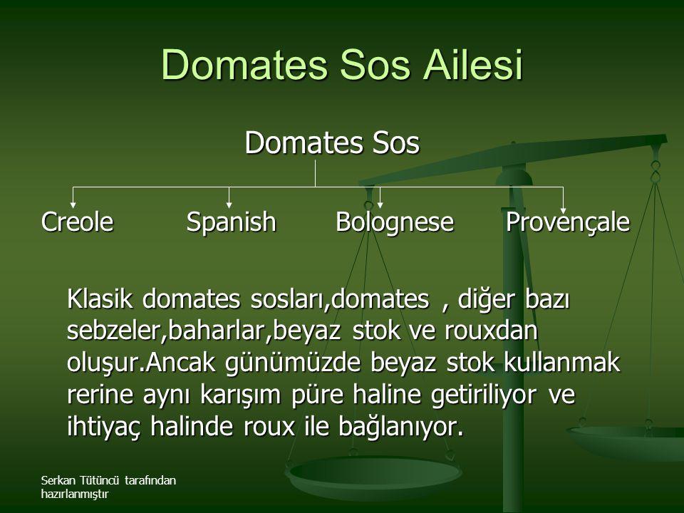 Serkan Tütüncü tarafından hazırlanmıştır Domates Sos Ailesi Domates Sos Domates Sos Creole Spanish Bolognese Provençale Klasik domates sosları,domates
