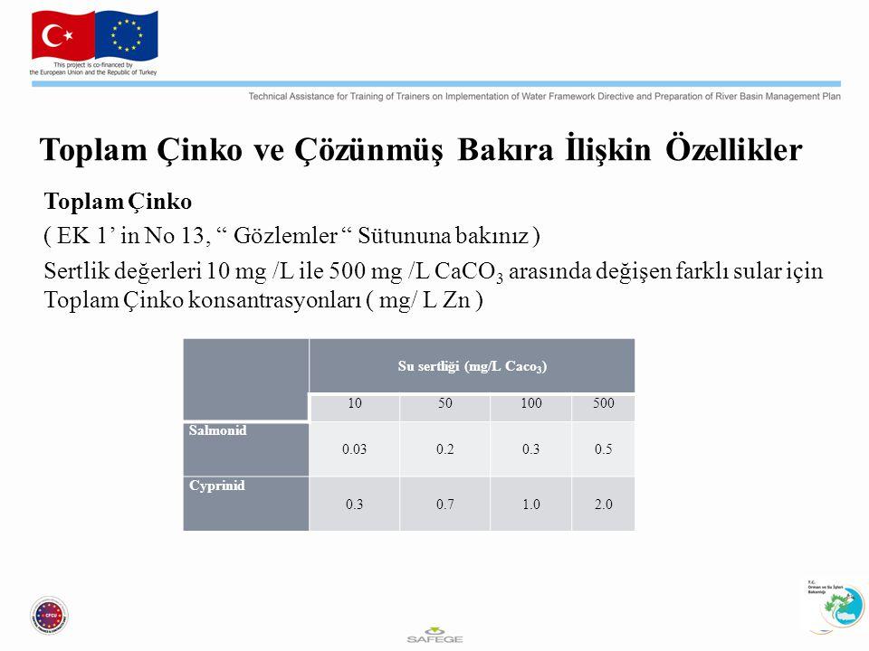 Toplam Çinko ve Çözünmüş Bakıra İlişkin Özellikler Toplam Çinko ( EK 1' in No 13, Gözlemler Sütununa bakınız ) Sertlik değerleri 10 mg /L ile 500 mg /L CaCO 3 arasında değişen farklı sular için Toplam Çinko konsantrasyonları ( mg/ L Zn ) Su sertliği (mg/L Caco 3 ) 1050100500 Salmonid 0.030.20.30.5 Cyprinid 0.30.71.02.0