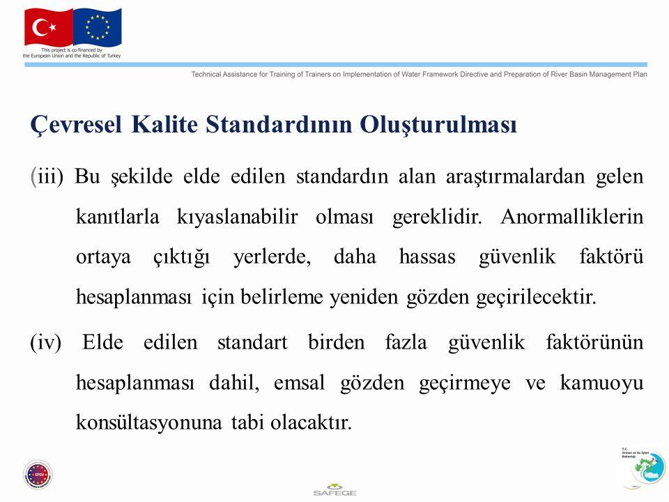 Çevresel Kalite Standardının Oluşturulması ( iii) Bu şekilde elde edilen standardın alan araştırmalardan gelen kanıtlarla kıyaslanabilir olması gereklidir.