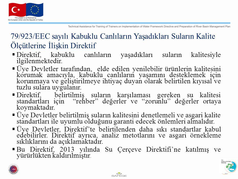 79/923/EEC sayılı Kabuklu Canlıların Yaşadıkları Suların Kalite Ölçütlerine İlişkin Direktif  Direktif, kabuklu canlıların yaşadıkları suların kalitesiyle ilgilenmektedir.