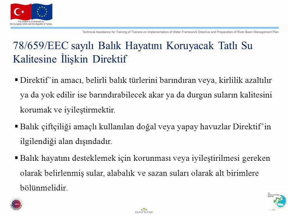 78/659/EEC sayılı Balık Hayatını Koruyacak Tatlı Su Kalitesine İlişkin Direktif  Direktif'in amacı, belirli balık türlerini barındıran veya, kirlilik azaltılır ya da yok edilir ise barındırabilecek akar ya da durgun suların kalitesini korumak ve iyileştirmektir.