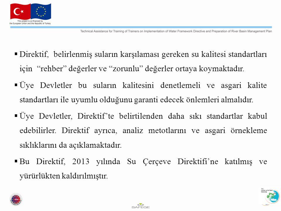 Balık Direktifi Tatlı su balık yönergesi (FWF), Kabuklu Deniz Ürünleri Direktifi (SWD) ve Tehlikeli Maddeler Direktifi (DSD) 22 Aralık 2013 tarihinde Su Çerçeve Direktifi kapsamına alınmıştır.