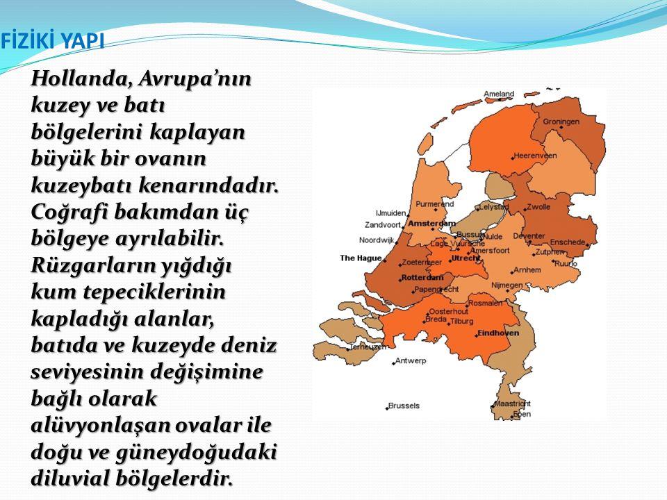 FİZİKİ YAPI Hollanda, Avrupa'nın kuzey ve batı bölgelerini kaplayan büyük bir ovanın kuzeybatı kenarındadır. Coğrafi bakımdan üç bölgeye ayrılabilir.