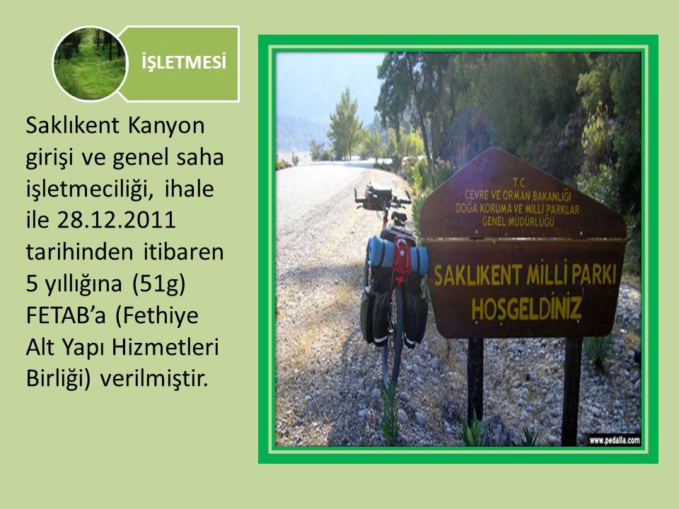 İŞLETMESİ Saklıkent Kanyon girişi ve genel saha işletmeciliği, ihale ile 28.12.2011 tarihinden itibaren 5 yıllığına (51g) FETAB'a (Fethiye Alt Yapı Hi